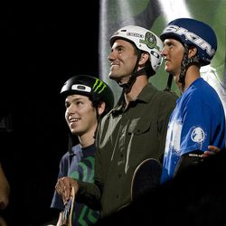 Bob Burquist of Brazil is introduced prior to the skateboarding vert final at Energy Solutions Arena for the Salt Lake City stop of the Dew Tour on Saturday, Sept. 10, 2011.