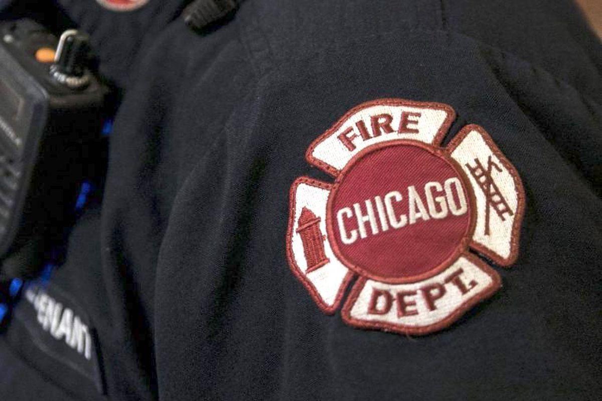 The shoulder patch on a Chicago Fire Department uniform.