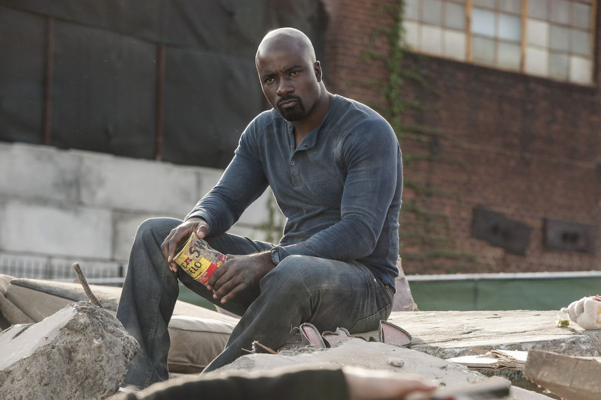 Luke Cage in the wreckage of a Harlem business in the first season of Luke Cage.