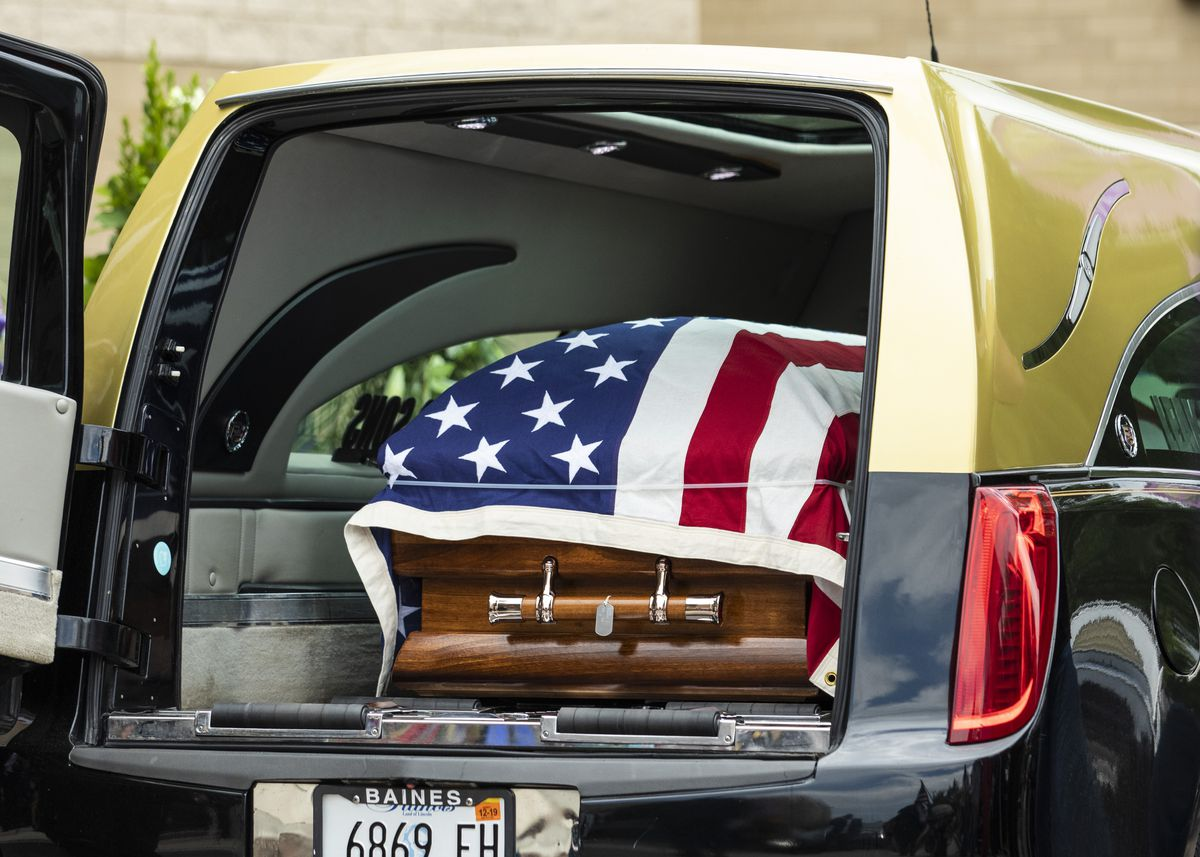 The casket of U.S. Army Spc. Michael Nance, a soldier from the South Side who was killed in Afghanistan, after his funeral at Trinity United Church of Christ, in August 2019.