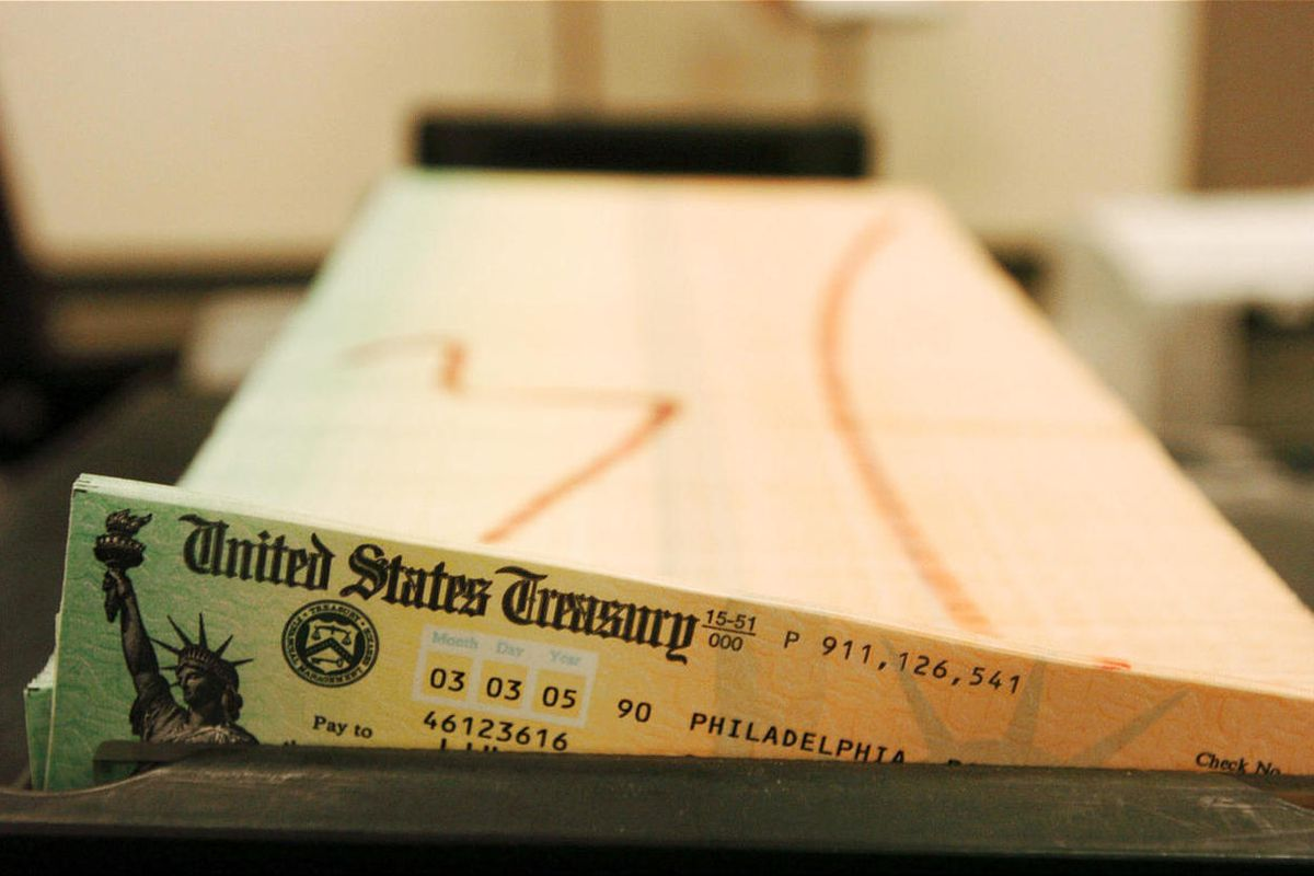 This February 2005 file photo shows trays of printed social security checks, in Philadelphia, waiting to be mailed from the U.S. Treasury.
