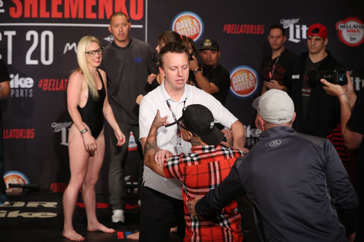 A Former Opponent Of Heather Hardy Was Escorted Away From The Stage Area At Bellator  Bellator Mma