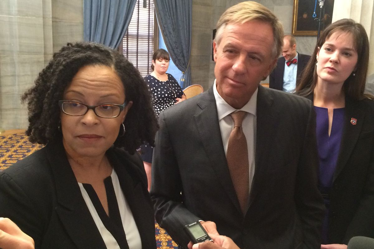 From left: Achievement School District Superintendent Malika Anderson answers questions at a 2015 news conference with Gov. Bill Haslam and Education Commissioner Candice McQueen.