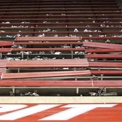 The bleachers in first seven rows of the student section in the Pit failed early in the game against BYU at an NCAA college basketball game on Saturday, Jan. 29, 2011, in Albuquerque, N.M. New Mexico won 86-77 over 9th ranked BYU.