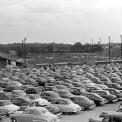 <strong>1950- Parking lot of Doak Campbell Stadium during dedication football game</strong>
