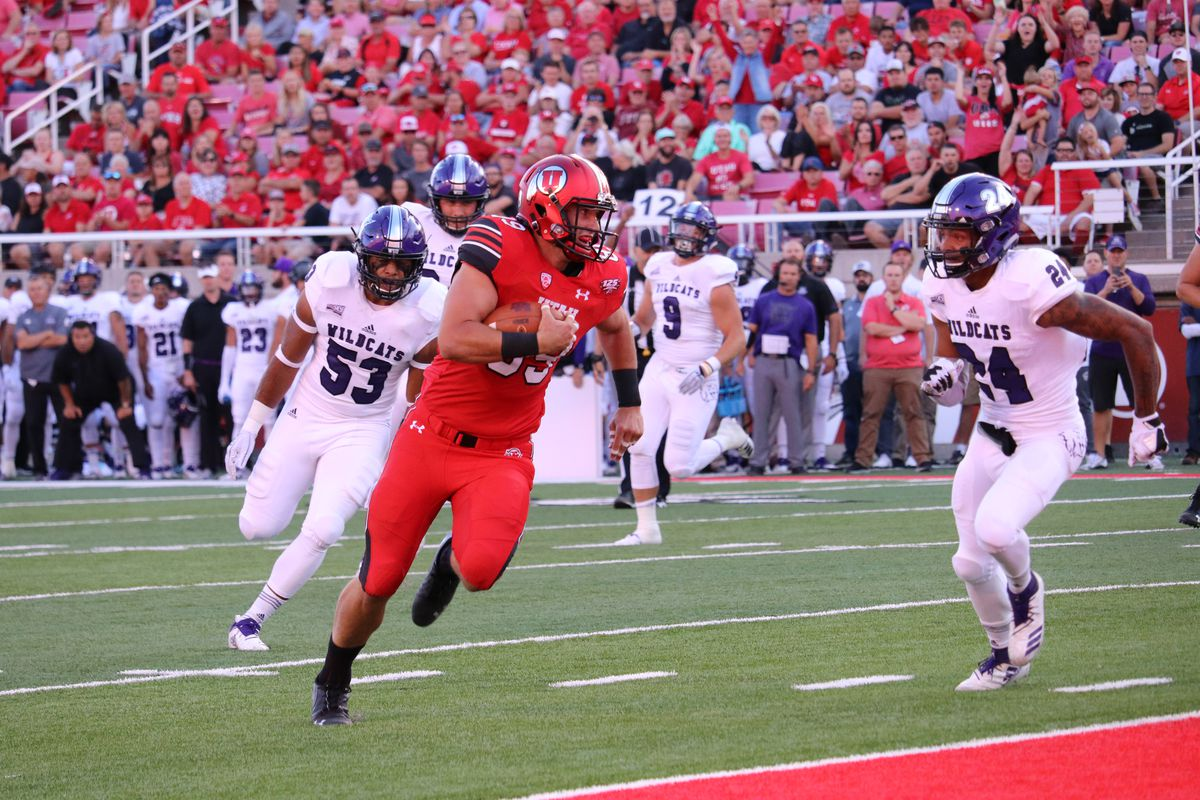 University of Utah football tight end Cole Fotheringham catches a touchdown on Thursday, Aug. 30, 2018 at Rice-Eccles Stadium. Fotheringham's family Chad raised his kids Cougar fans, but for obvious reasons is all-in on the Utes now.