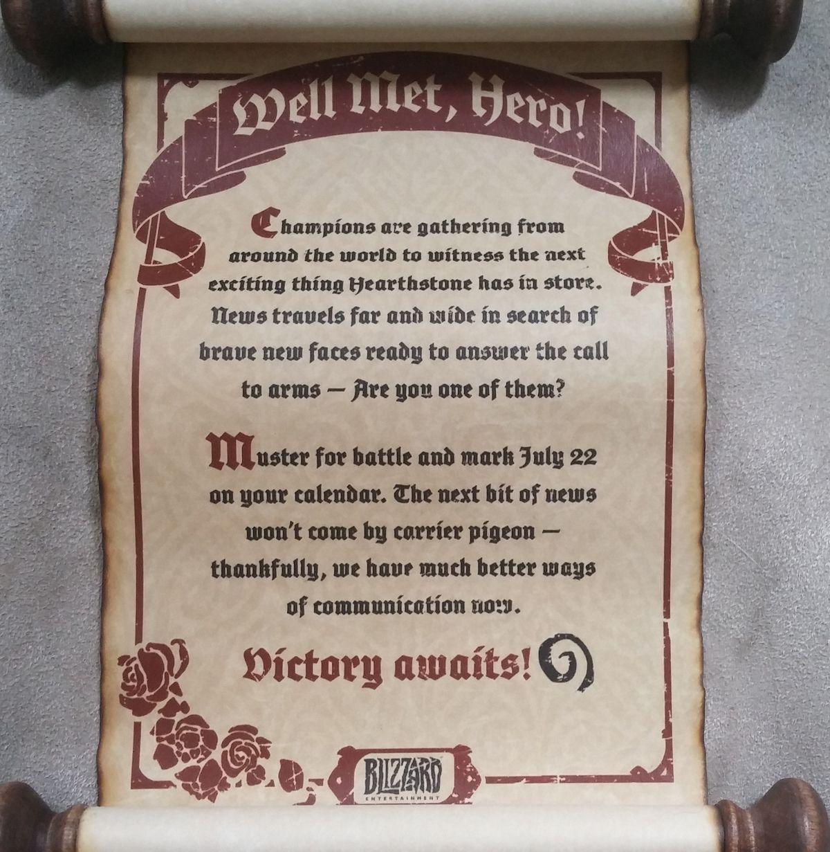Hearthstone scroll