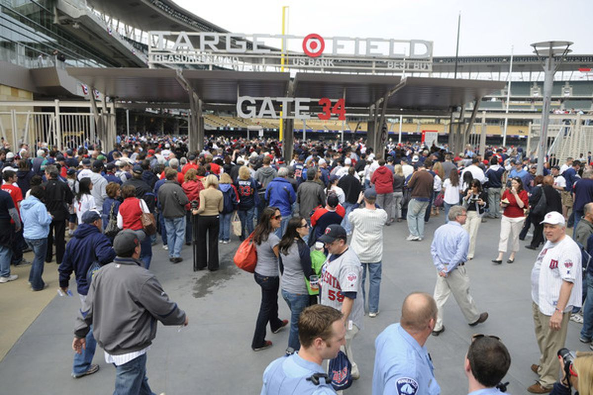 MINNESOTA, MN - APRIL 12: Fans enter through Gate 34 prior to a game between the Minnesota Twins and the Boston Red Sox during the Twins home opener at Target Field on April 2, 2010 in Minneapolis, Minnesota. (Photo by Hannah Foslien /Getty Images)