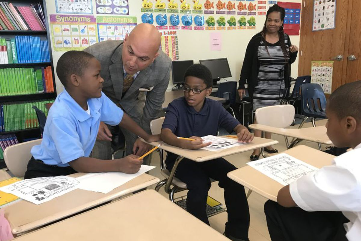 Detroit Superintendent Nikolai Vitti meets with students at Detroit's Durfee Elementary-Middle School on the first day of school in September, 2017