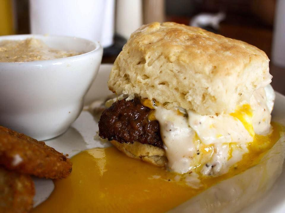 Miami Hangover Biscuit with smoked meatloaf, egg, and cheddar cheese at Red Eyed Mule