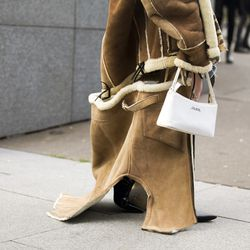 Deconstructed shearling on the streets of Paris.