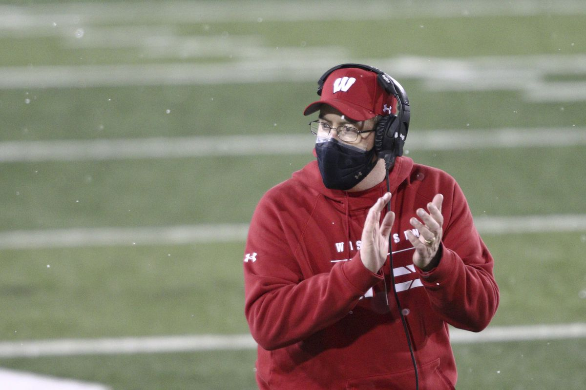 Head coach Paul Chryst of the Wisconsin Badgers in the second half against the Iowa Hawkeyes at Kinnick Stadium on December 12, 2020 in Iowa City, Iowa.