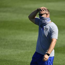 A masked David Ross during Summer Camp, July 3