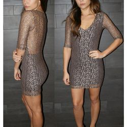 Nightcap cheetah lace V neck dress: was $330 now $150