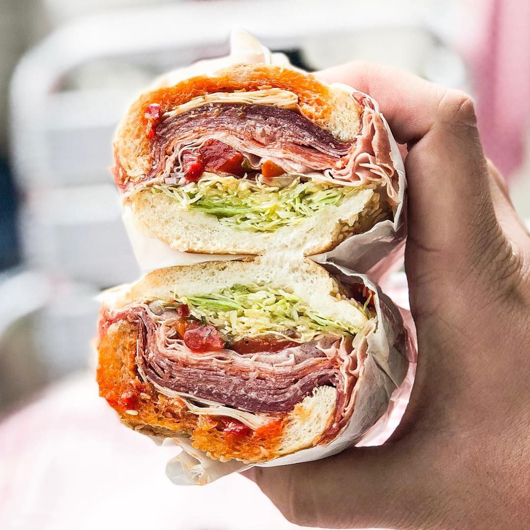 Cross-section of an Italian submarine sandwich from Uncle Paulie's.