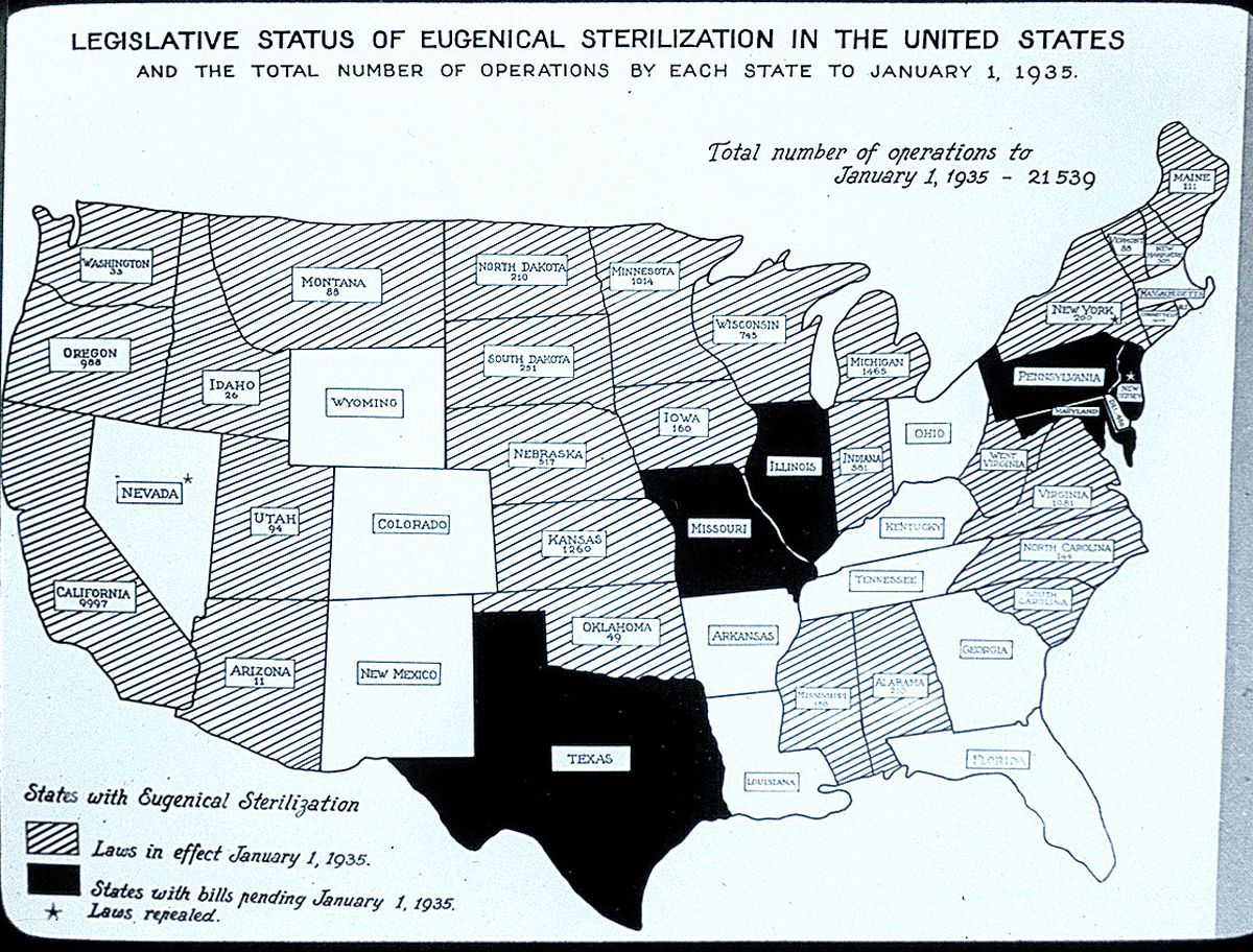Eugenical Sterilization Map of the United States, 1935; from The Harry H. Laughlin Papers, Truman State University