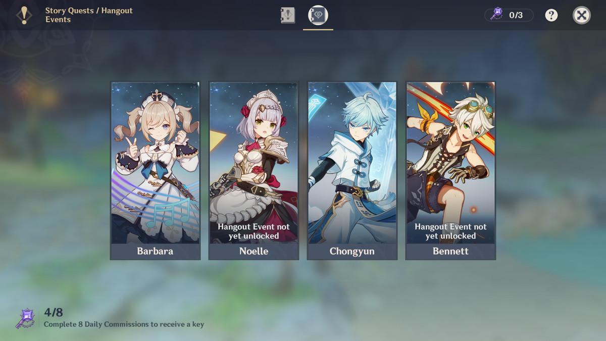 A menu screen showing Hangout Event options for Barbara, Noelle, Chongyun, and Bennett.