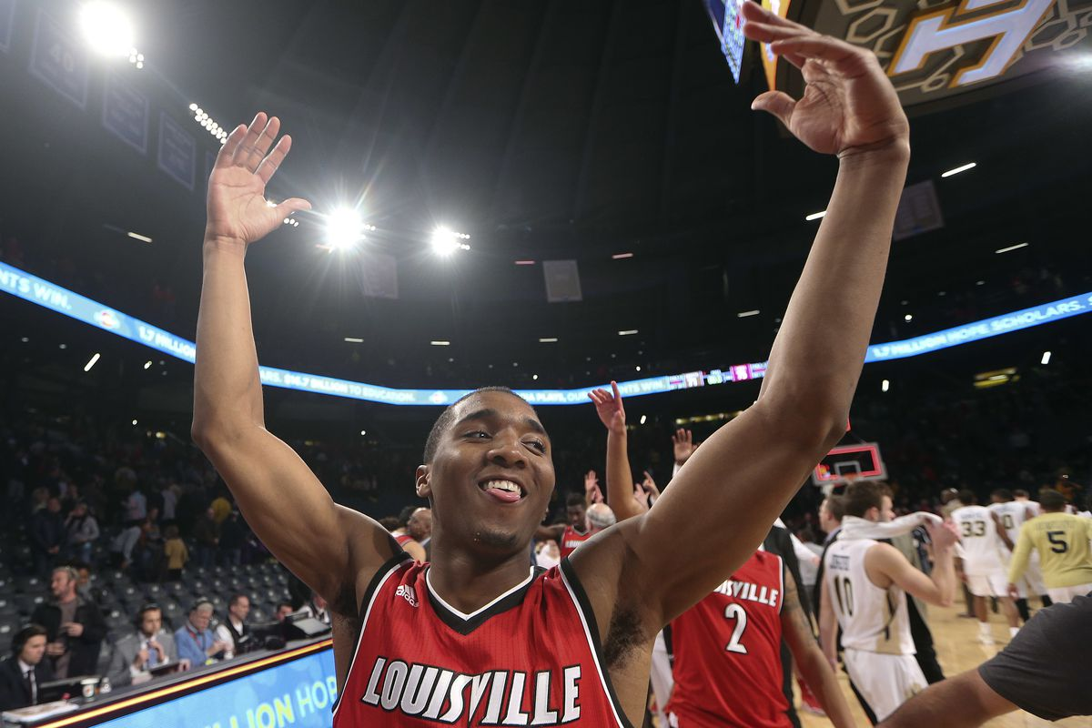 Louisville Cardinals guard Donovan Mitchell (45) reacts as he leaves the court after defeating Georgia Tech 75-71 in an NCAA college basketball game Saturday, Jan. 23, 2016, in Atlanta. (AP Photo/John Bazemore)