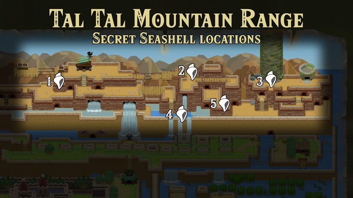 Link's Awakening Tal Tal Mountain Range Secret Seashell locations map
