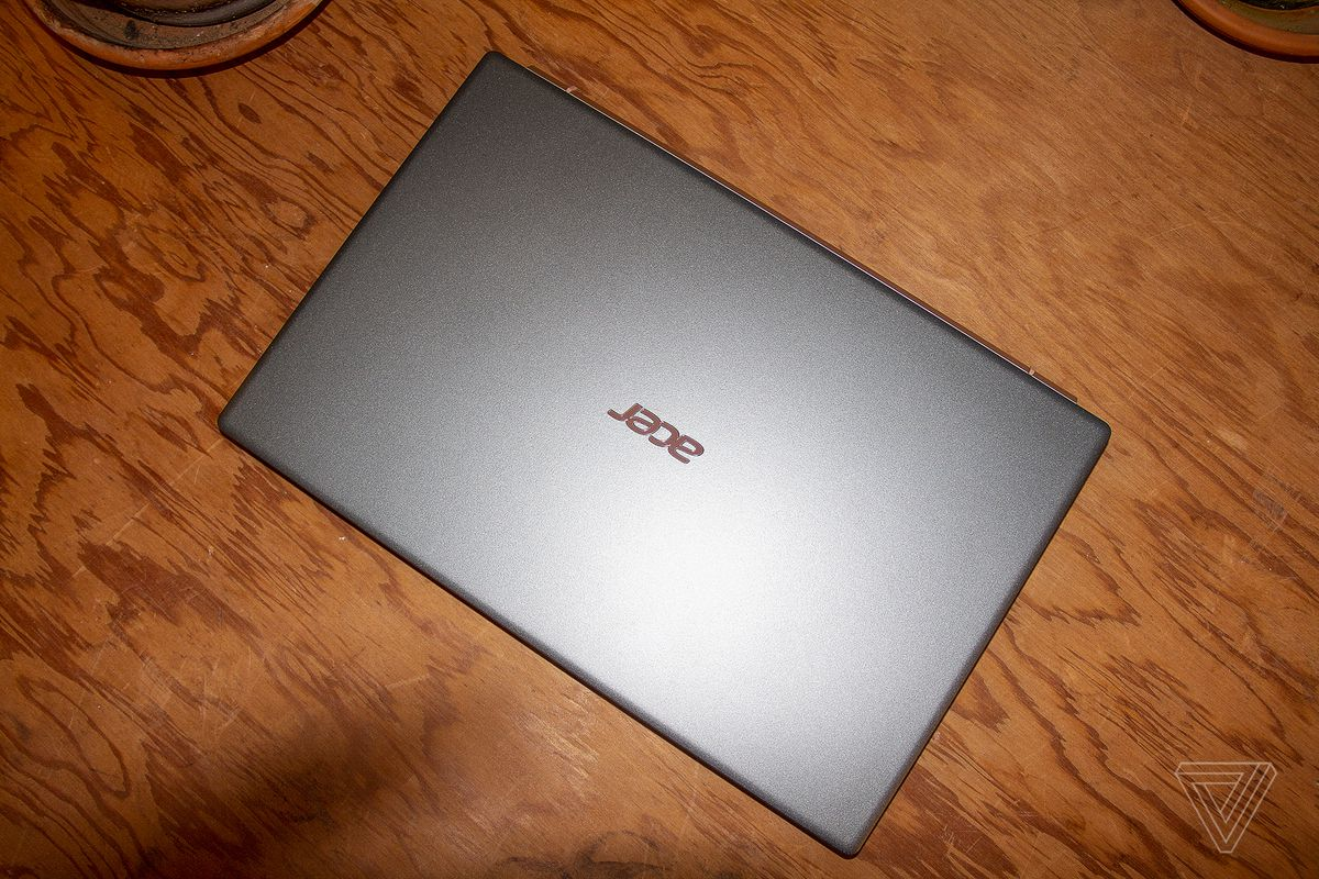 The Acer Swift 5 lid, closed, seen from above.