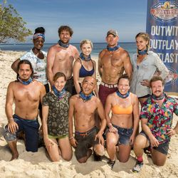 """Nuku tribe members Oscar """"Ozzy"""" Lusth, left, Cirie Fields, James """"J.T"""" Thomas, Debbie Wanner, Andrea Boehlke, Tai Trang, Brad Culpepper, Sarah Lacina, Sierra Dawn Thomas and Zeke Smith will be 10 of the 20 castaways competing on """"Survivor"""" this season, themed """"Game Changers."""" The 34th season premieres, Wednesday, March 8, on CBS. The season premiere marks the 500th episode of the series."""