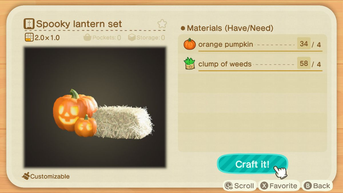 An Animal Crossing recipe for a Spooky Lantern Set