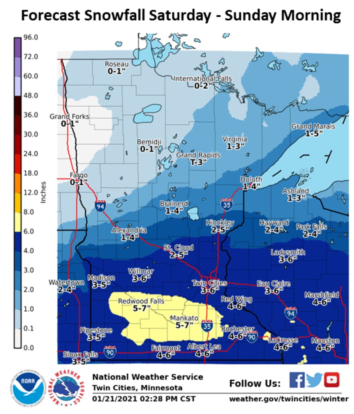 Plowable Snowfall Likely Saturday PM Hours – Another Thaw Brewing