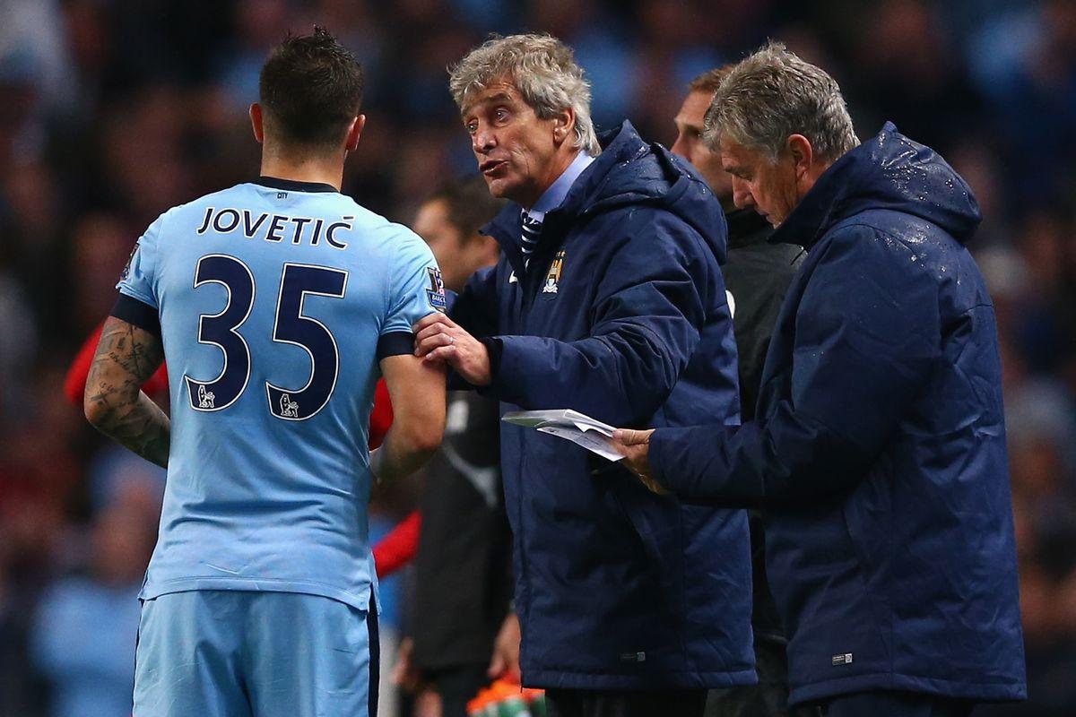 Pellegrini gives Jovetic touchline instructions