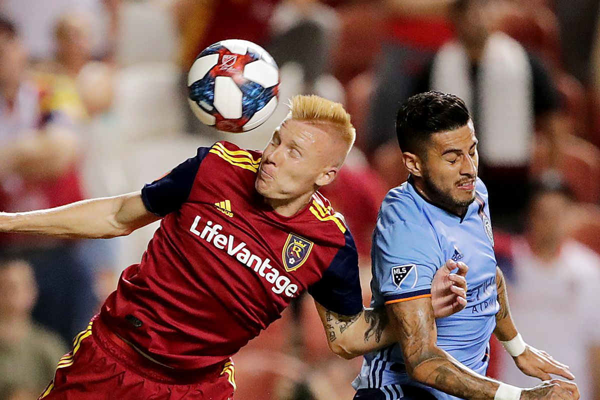 Real Salt Lake defender Justen Glad (15) and New York City defender Ronald Matarrita (22) go after the ball as Real Salt Lake and New York City FC play at Rio Tinto Stadium in Sandy on Saturday, Aug. 3, 2019. RSL won 3-1.