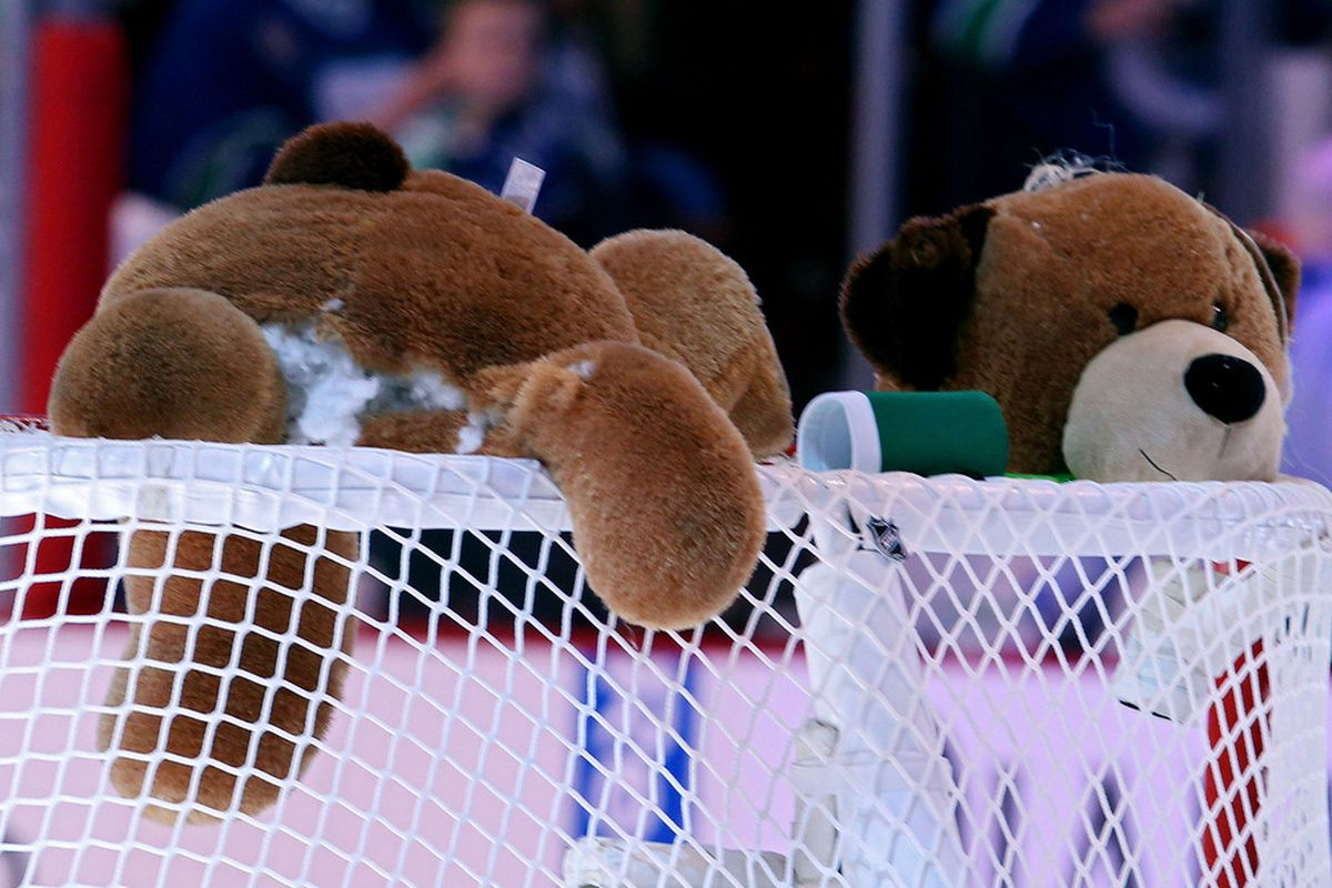 The Vancouver fans are even taking it to stuffed bears at this point.