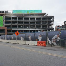 View looking at the new plaza building, from Clark Street