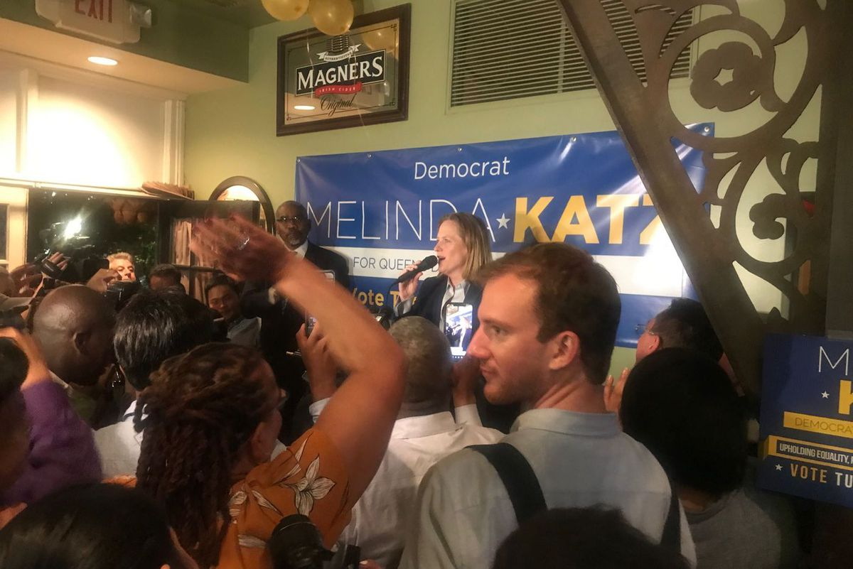 Melinda Katz addresses supporters at her viewing party in Forest Hills, Queens, on June 25, 2019