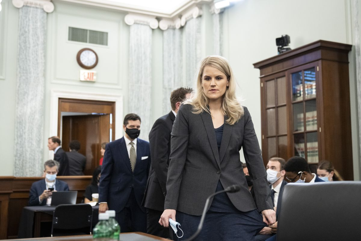 Former Facebook employee and whistleblower Frances Haugen arrives to testify before a Senate Committee on Commerce, Science, and Transportation hearing on Capitol Hill on Tuesday, Oct. 5, 2021, in Washington.