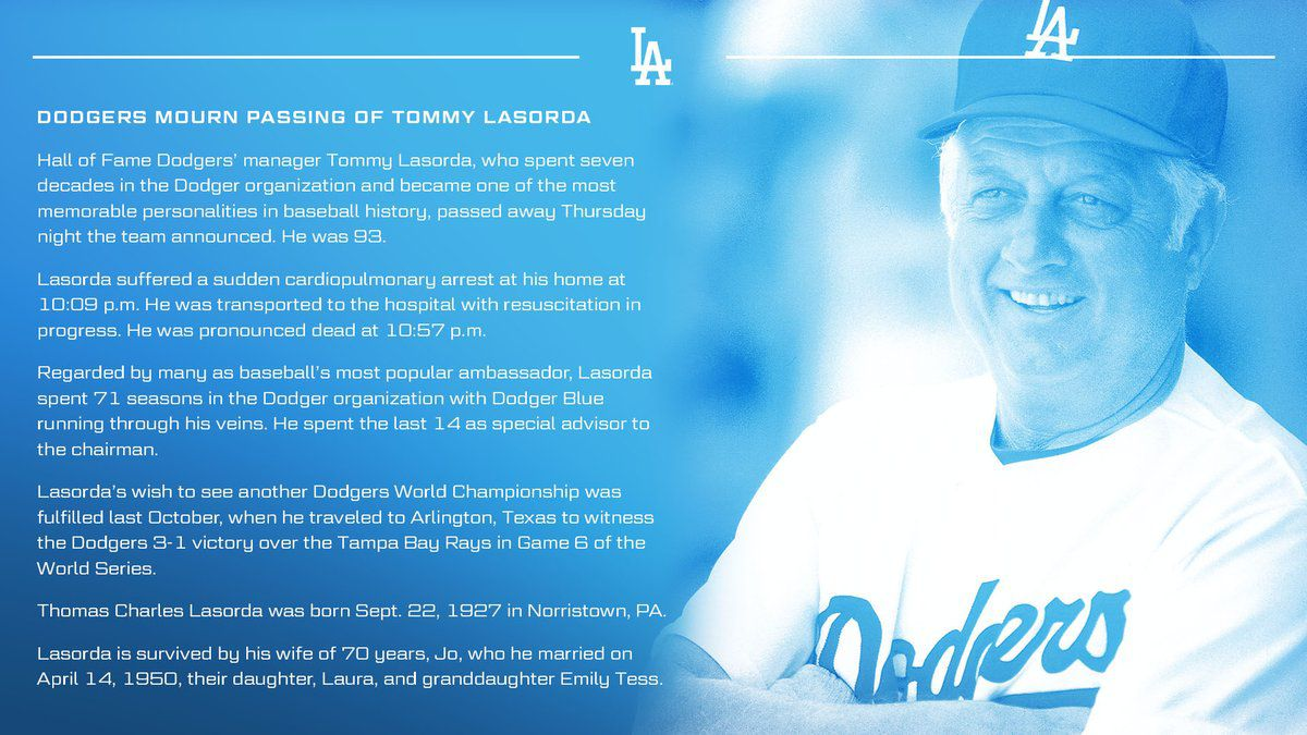 Announcement of Tommy Lasorda's death