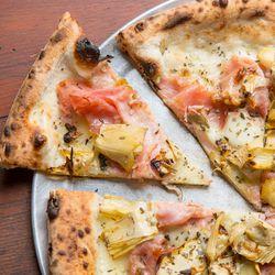 Artichoke and porchetta pizza