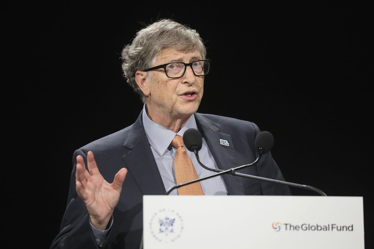 Bill Gates speaks at an event in France.