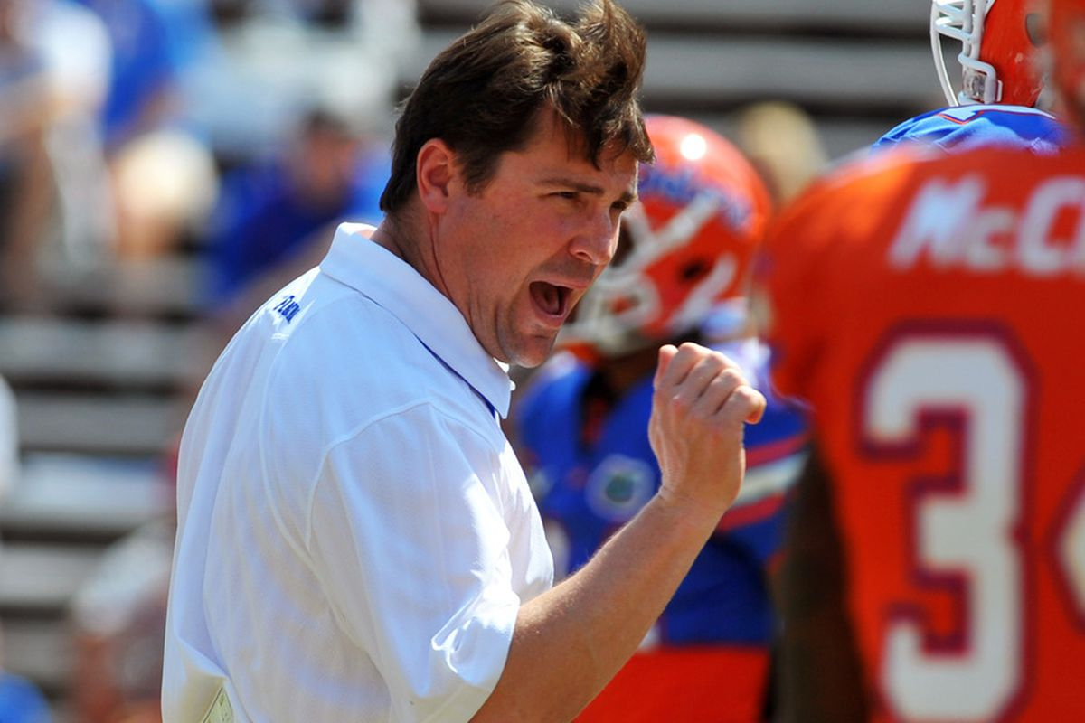 GAINESVILLE, FL - APRIL 9:  Coach Will Muschamp of the Florida Gators directs play during the Orange and Blue spring football game April 9, 2010 Ben Hill Griffin Stadium in Gainesville, Florida.  (Photo by Al Messerschmidt/Getty Images)