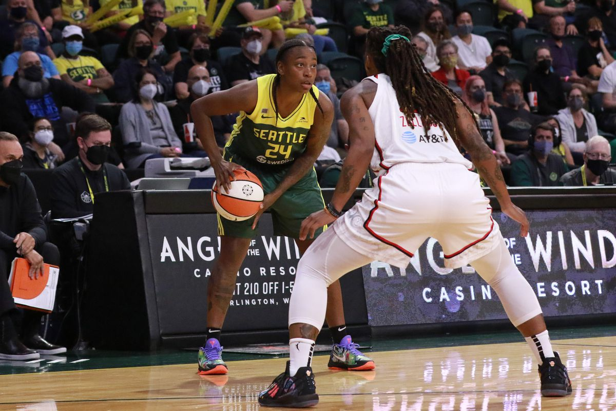Jewell Loyd #24 of the Seattle Storm looks to pass the ball against the Washington Mystics on September 7, 2021 at the Angel of the Winds Arena, in Everett, Washington.