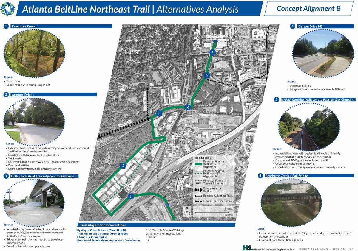 A rendering of various routes the Beltline could take to Buckhead.
