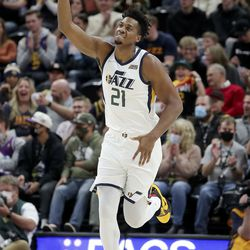 Utah Jazz center Hassan Whiteside (21) reacts to a play during a preseason NBA game against the New Orleans Pelicans at the Vivint Smart Home Arena in Salt Lake City on Monday, Oct. 11, 2021. The Jazz won 127-96.