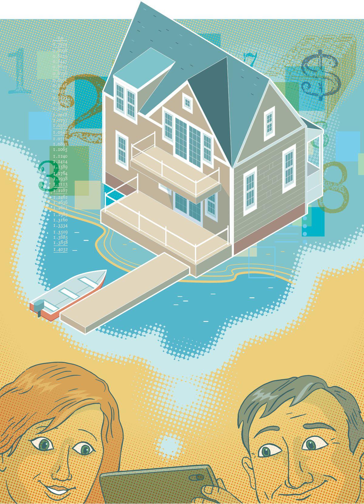 Summer 2021 Home Finances, beach house illustration