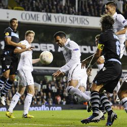 Tottenham Hotspur's Sandro, center, tries unsuccessfully to score against Lazio during a Europa League Group J soccer match at White Hart Lane ground in London, Thursday, Sept. 20, 2012.