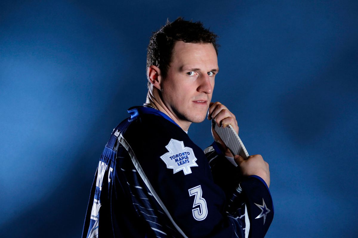 OTTAWA, ON - JANUARY 29:  Dion Phaneuf #3 of the Toronto Maple Leafs and Team Chara poses prior to the 2012 NHL All-Star Game at Scotiabank Place on January 29, 2012 in Ottawa, Ontario, Canada.  (Photo by Gregory Shamus/Getty Images)