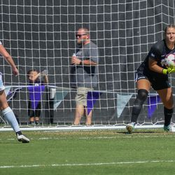 Kansas State goalkeeper Emma Malsy (15) corrals a save during the Wildcats' loss to the Oklahoma Sooners on Sunday, Sept. 23, 2018, in Manhattan.