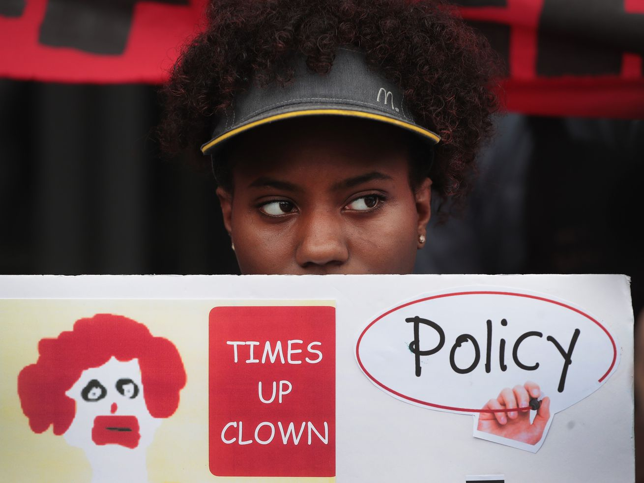 McDonald's workers protest sexual harassment at the fast-food chain's restaurants outside of the company's headquarters on September 18, 2018, in Chicago.
