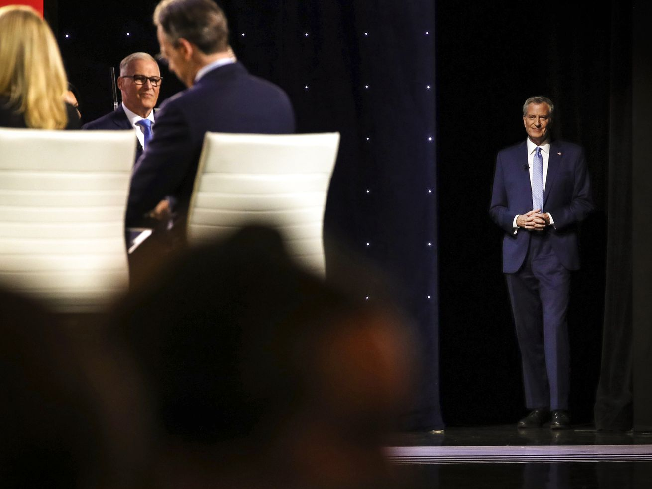 Democratic presidential candidate New York City Mayor Bill De Blasio takes the stage at the Democratic Presidential Debate on July 31, 2019.