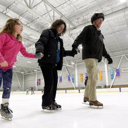 Rachel Anderson, Debora Anderson and Sam Anderson skate at Peaks Ice Arena in Provo on Wednesday, April 5, 2017.