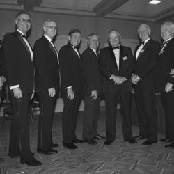 BYU head football coach LaVell Edwards is honored by the National Kidney Foundation in March 1990.