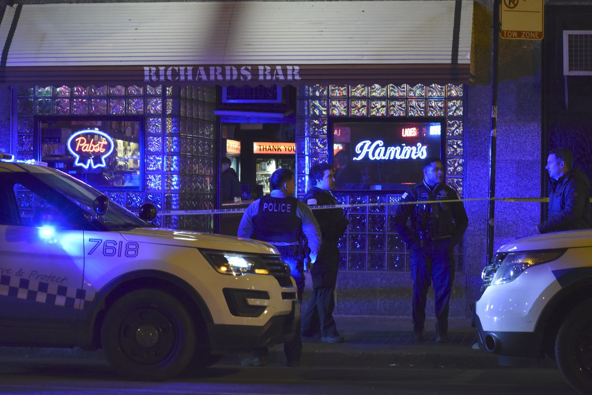 Police investigate Friday after 23-year-old Kenneth Paterimos was fatally stabbed near Richard's Bar, 491 N. Milwaukee Ave., in West Town.