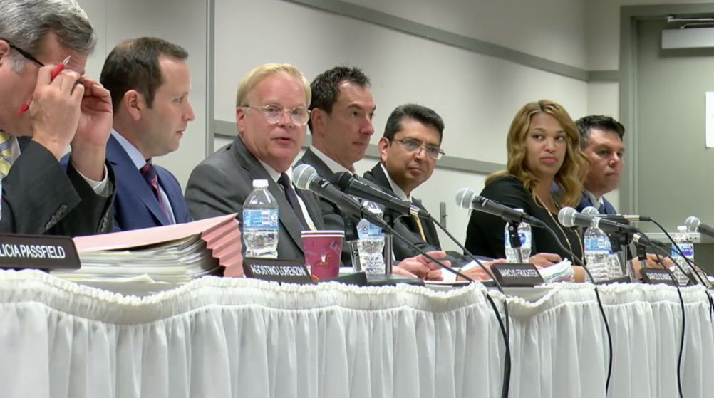 Illinois Gaming Board Chairman Charles Schmadeke, third from left, speaks at the board's meeting on Monday.